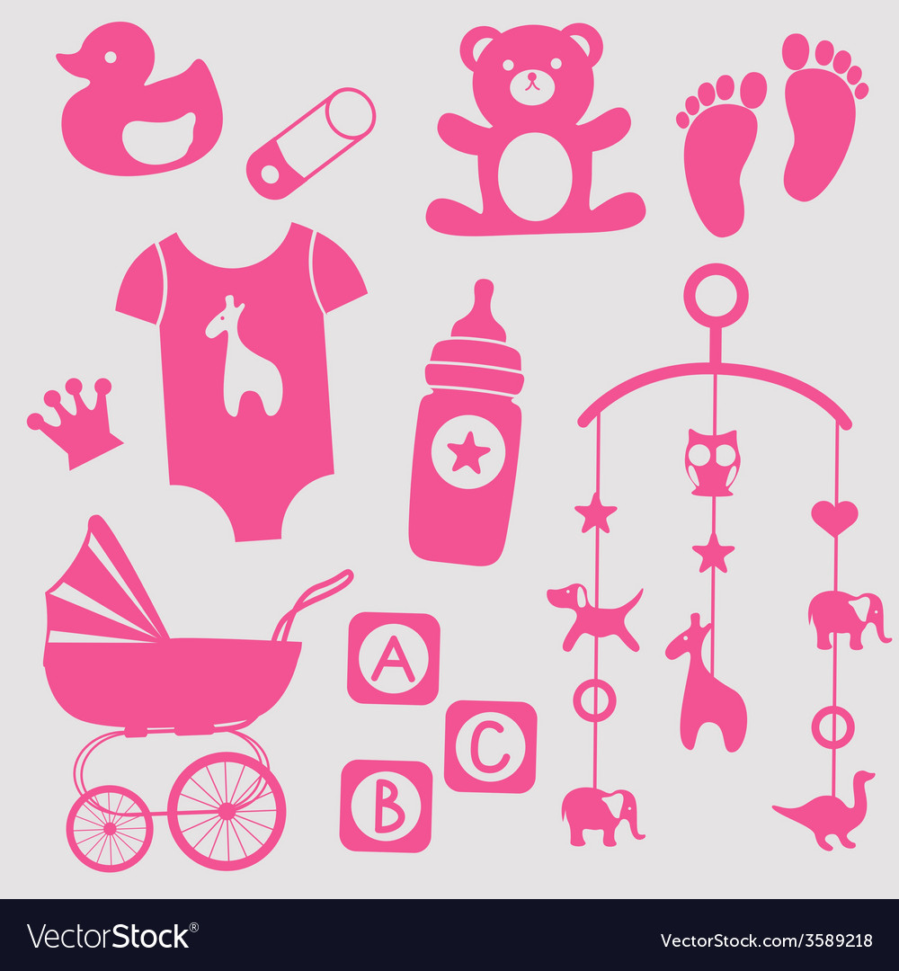 Baby girl toys icons vector | Price: 1 Credit (USD $1)