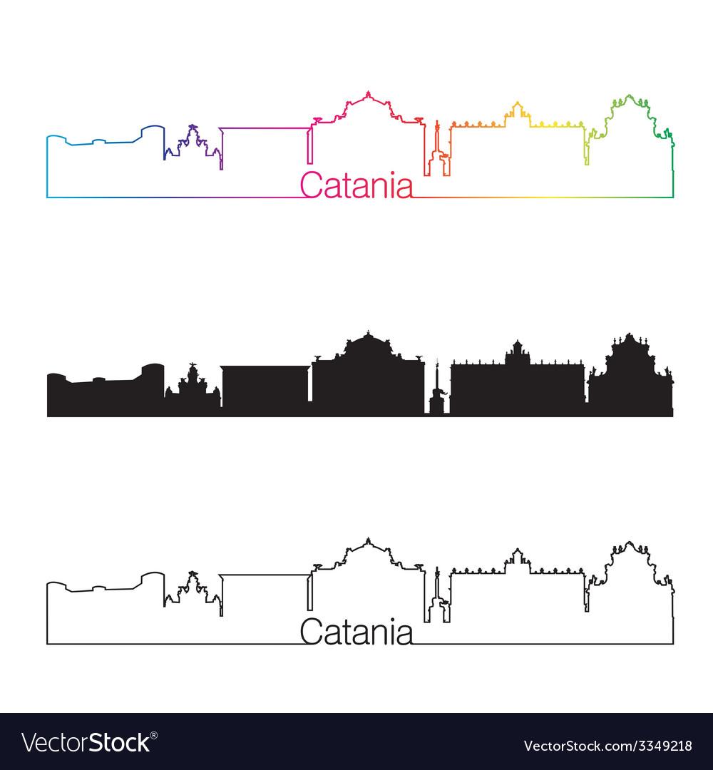 Catania skyline linear style with rainbow vector | Price: 1 Credit (USD $1)