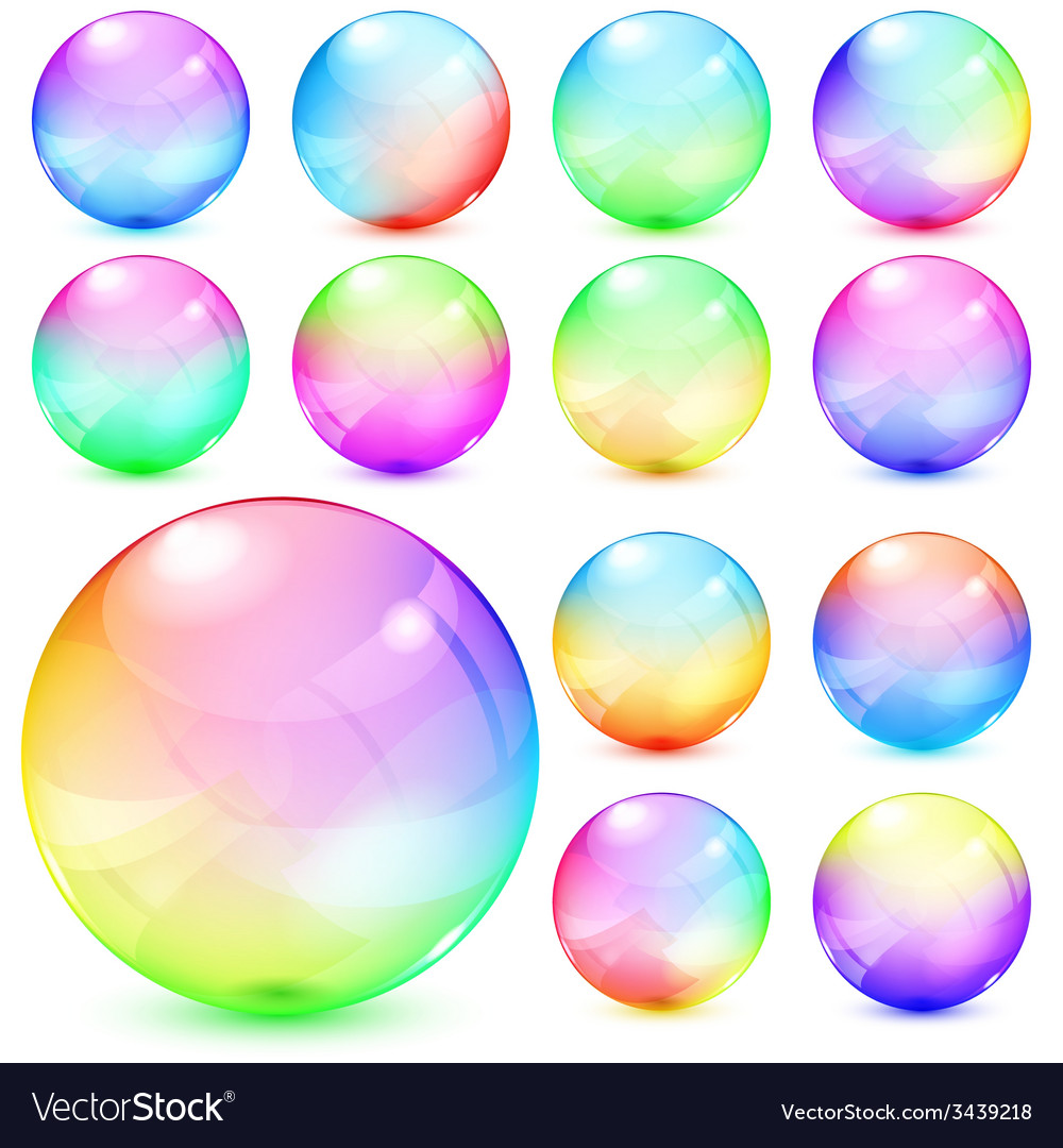 Colorful opaque glass spheres vector | Price: 1 Credit (USD $1)
