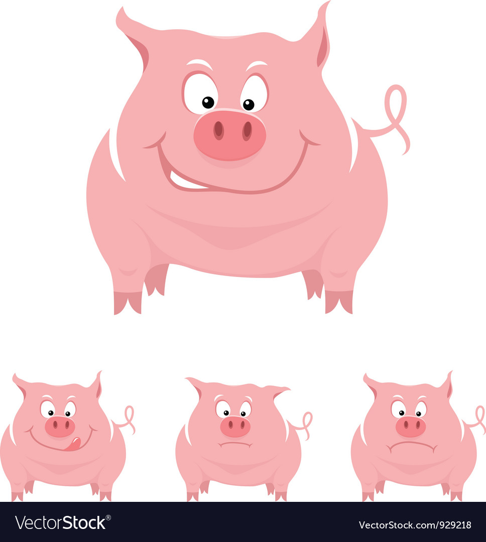 Funny cartoon pig vector | Price: 1 Credit (USD $1)
