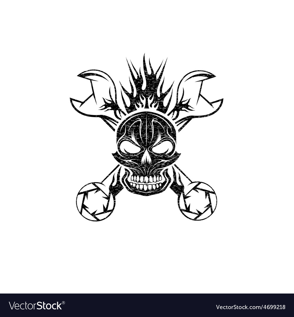 Grunge crest with skullflame and spanners vector | Price: 1 Credit (USD $1)