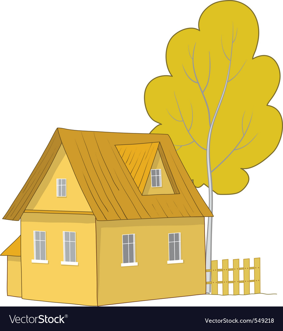 House with a tree vector | Price: 1 Credit (USD $1)