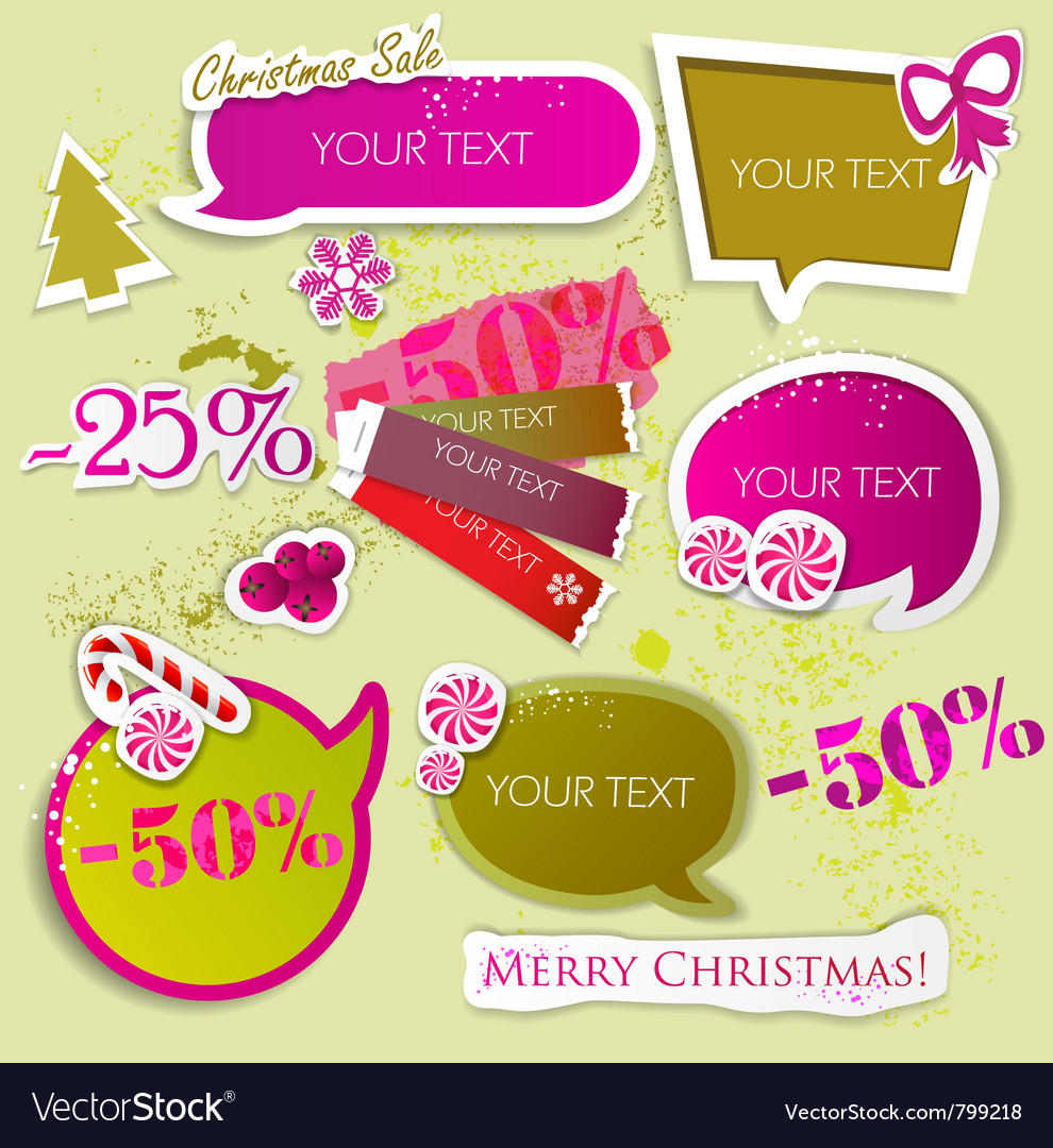 Speech bubbles for christmas sale vector | Price: 1 Credit (USD $1)