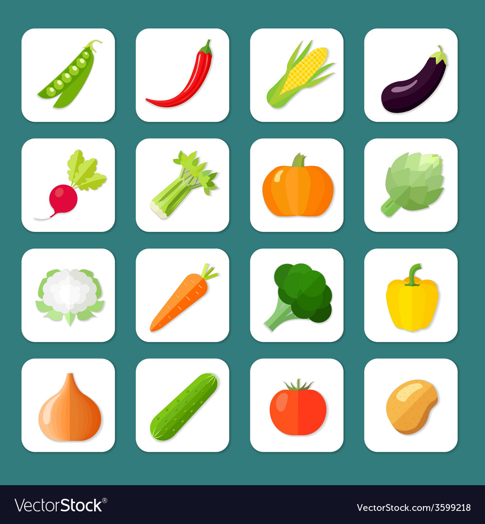 Vegetables icon flat vector | Price: 1 Credit (USD $1)