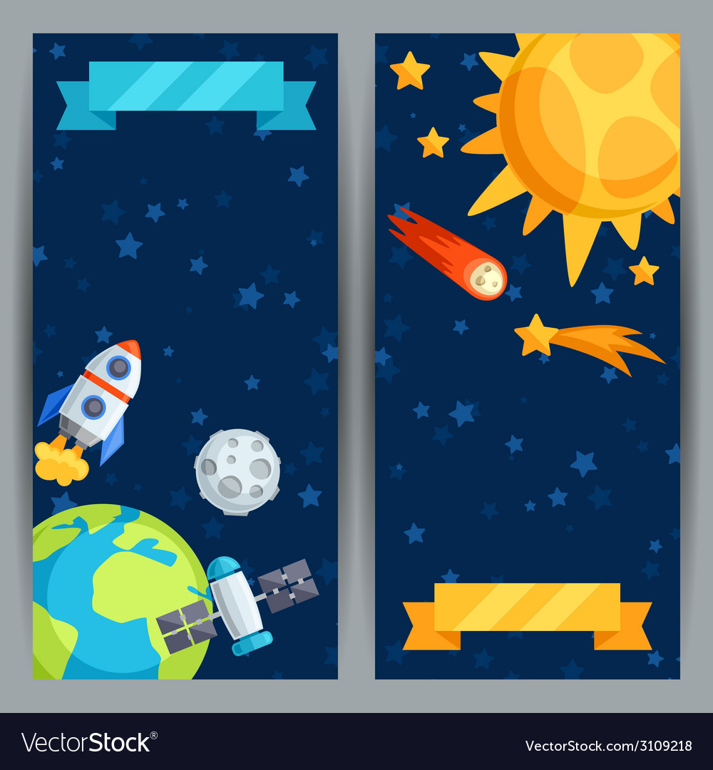 Vertical banners with solar system and planets vector | Price: 1 Credit (USD $1)