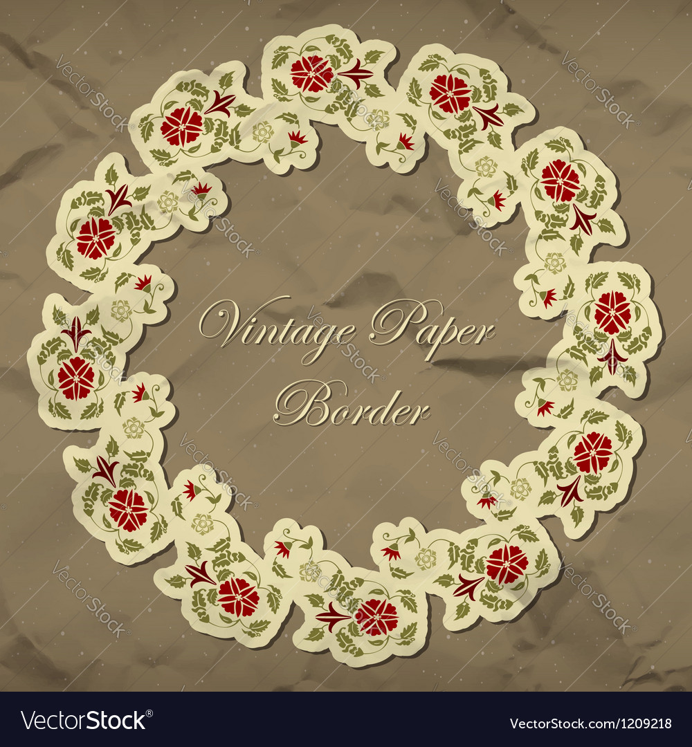 Vintage floral paper border vector | Price: 1 Credit (USD $1)