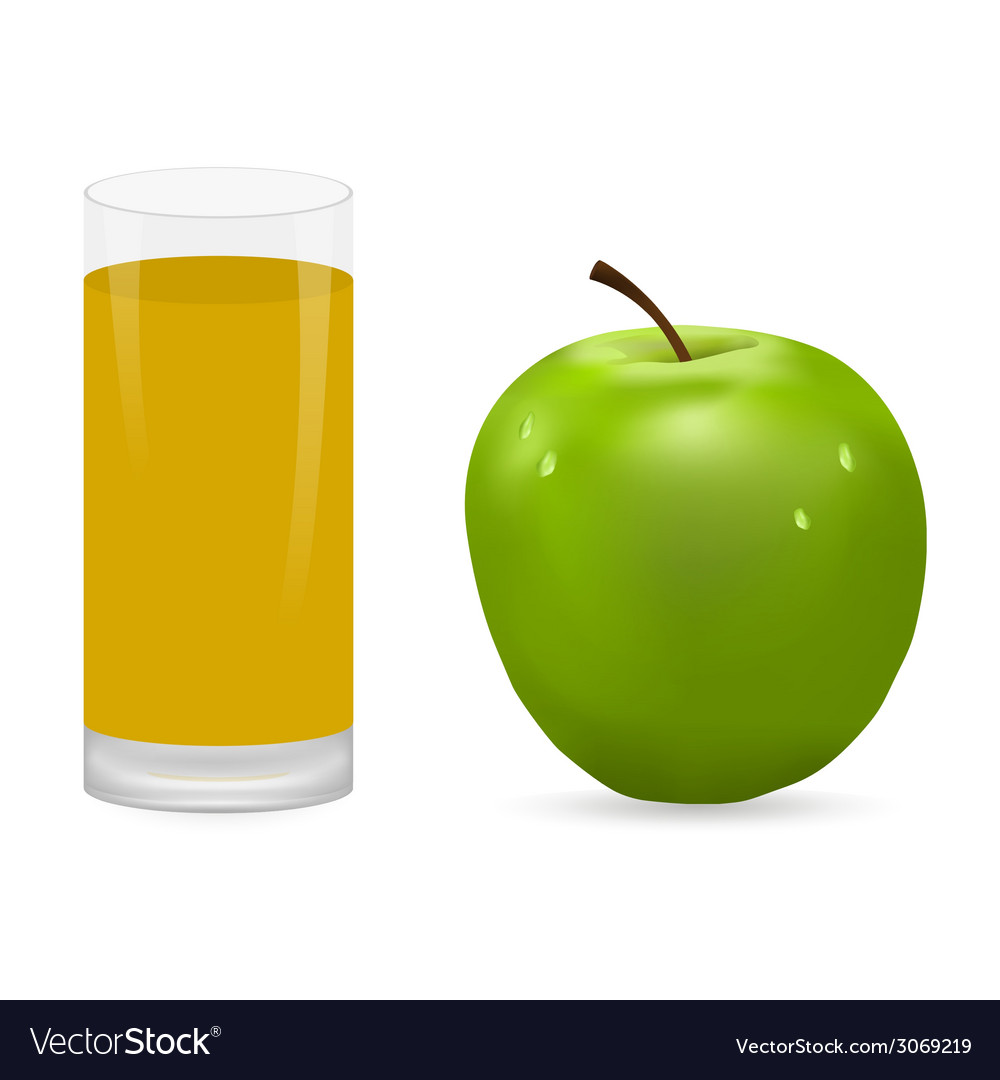 Apple and glass of juice vector | Price: 1 Credit (USD $1)