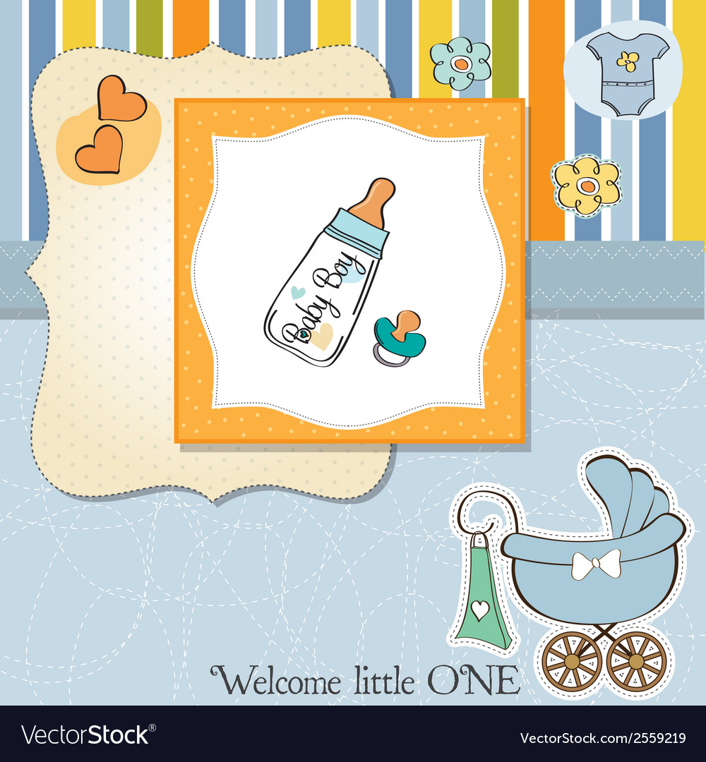 Baby announcement card with milk bottle and vector | Price: 1 Credit (USD $1)