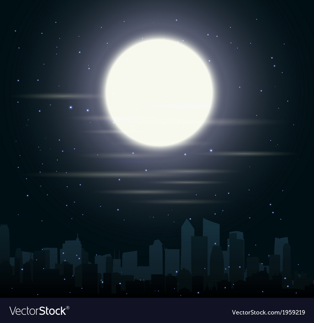 City skylines with moon vector | Price: 1 Credit (USD $1)