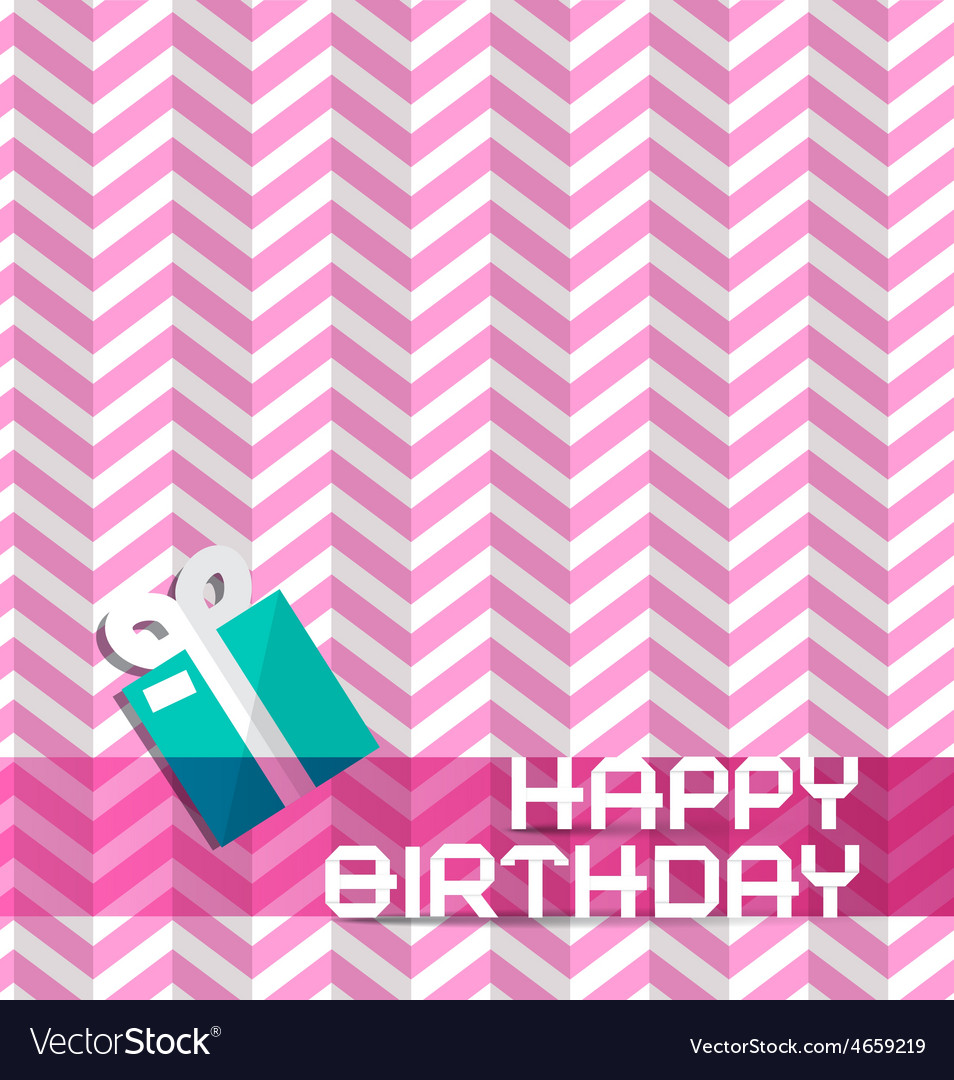 Happy birthday retro pink background with gift box vector | Price: 1 Credit (USD $1)