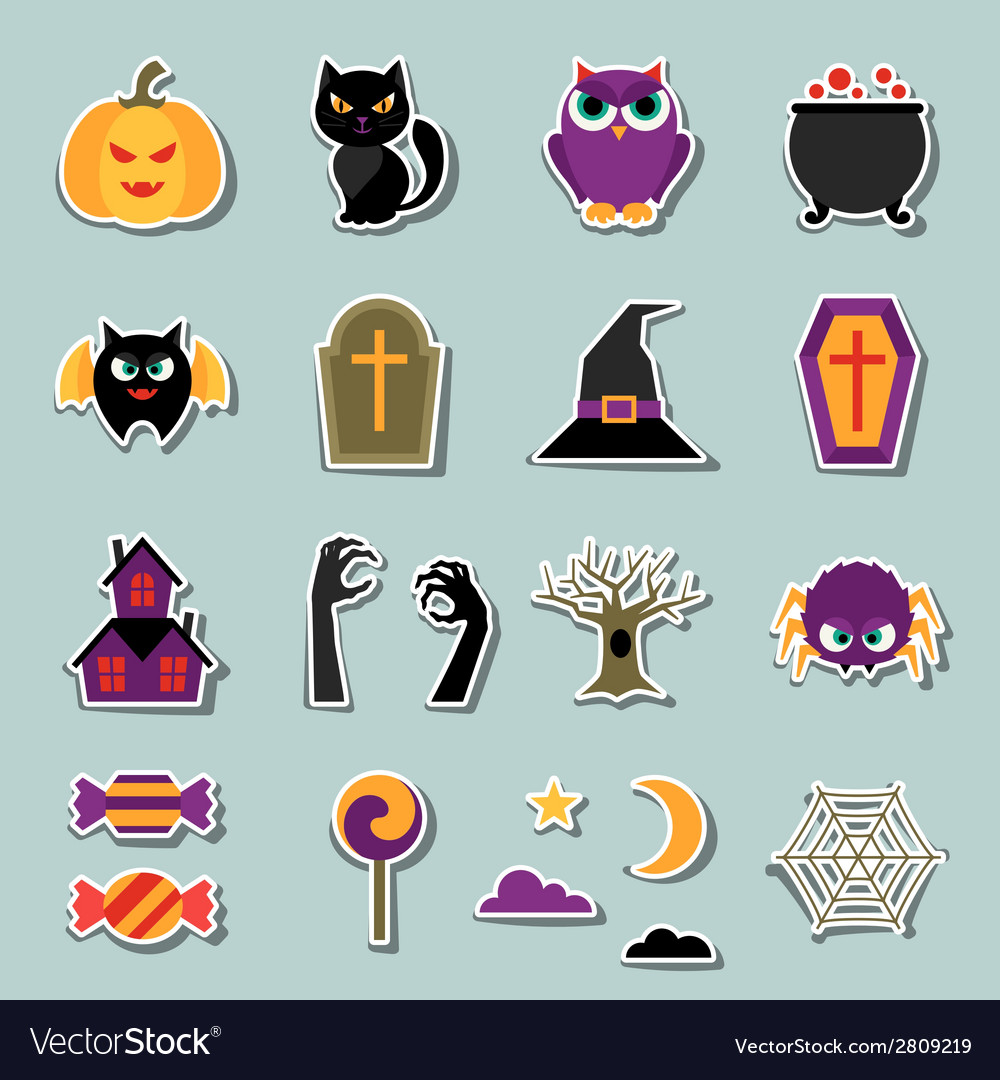 Happy halloween sticker set in flat design style vector | Price: 1 Credit (USD $1)