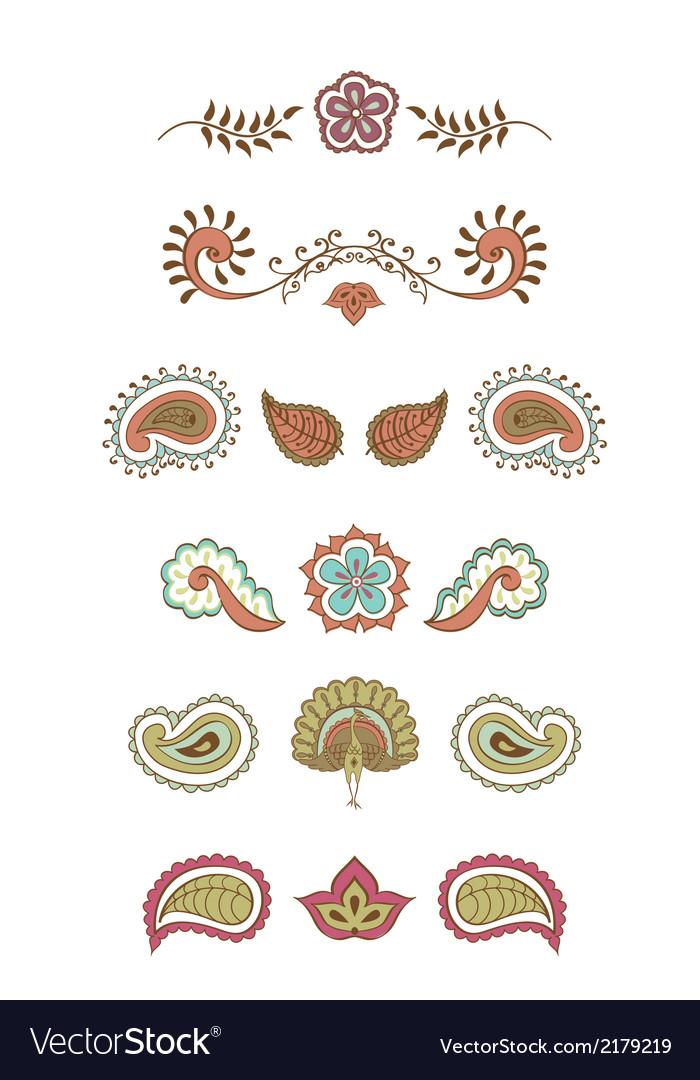 Hindustani ornament set vector | Price: 1 Credit (USD $1)