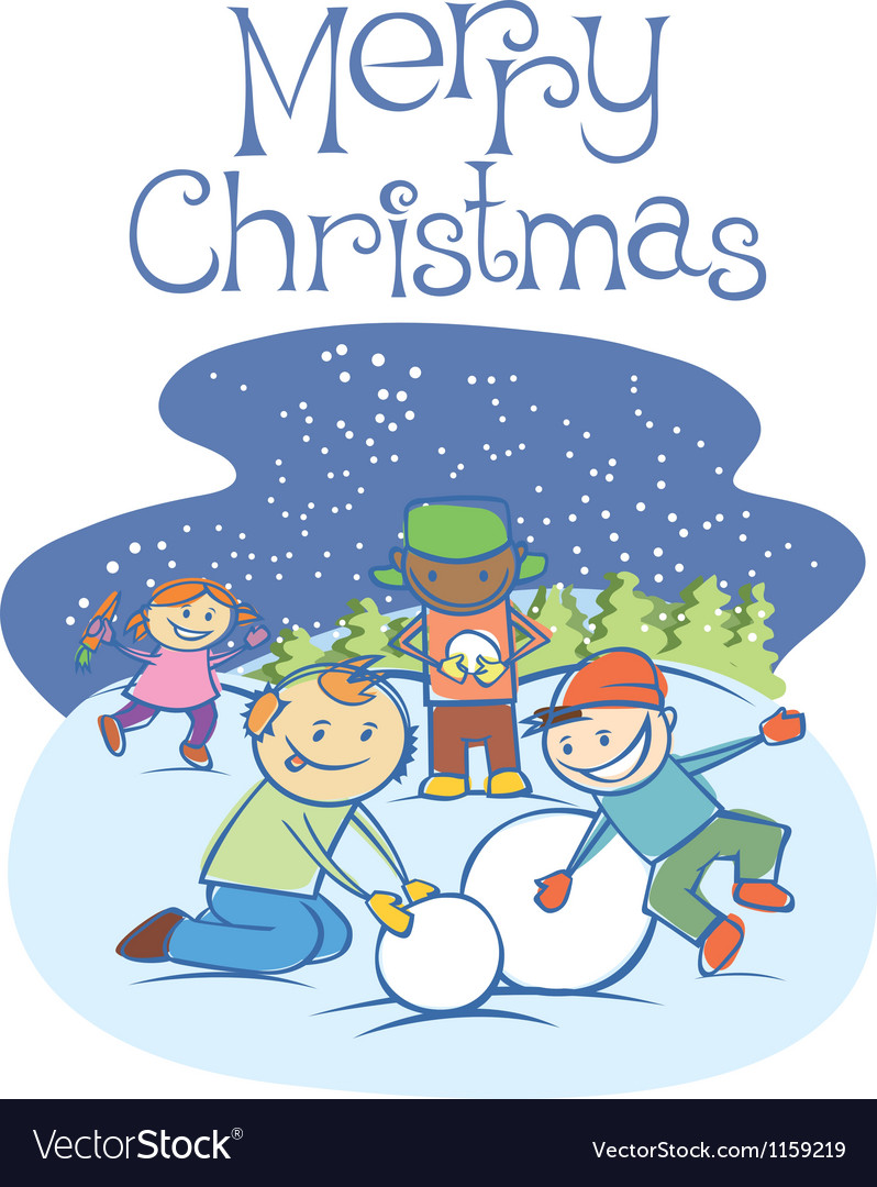 Kids making a snow man on xmas 01 vector | Price: 1 Credit (USD $1)