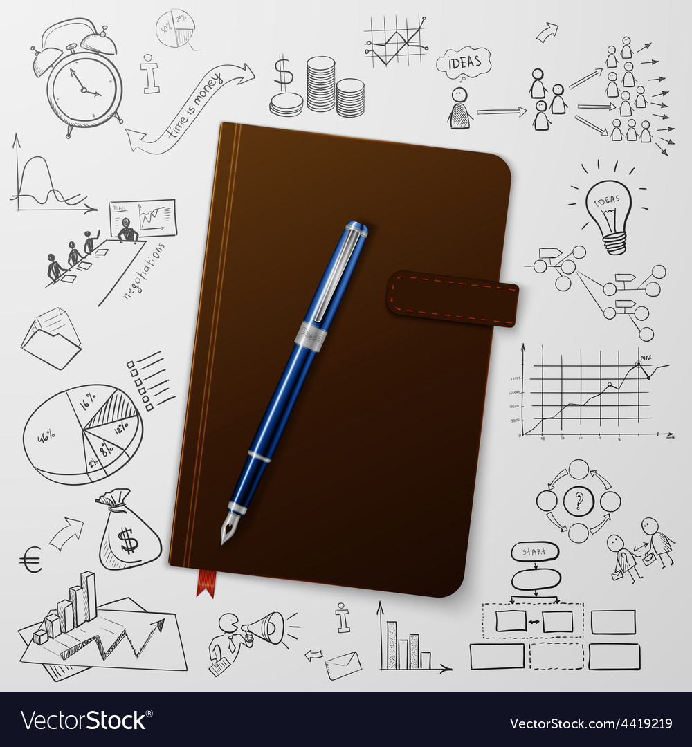 Notebook with doodles line drawing success vector | Price: 1 Credit (USD $1)