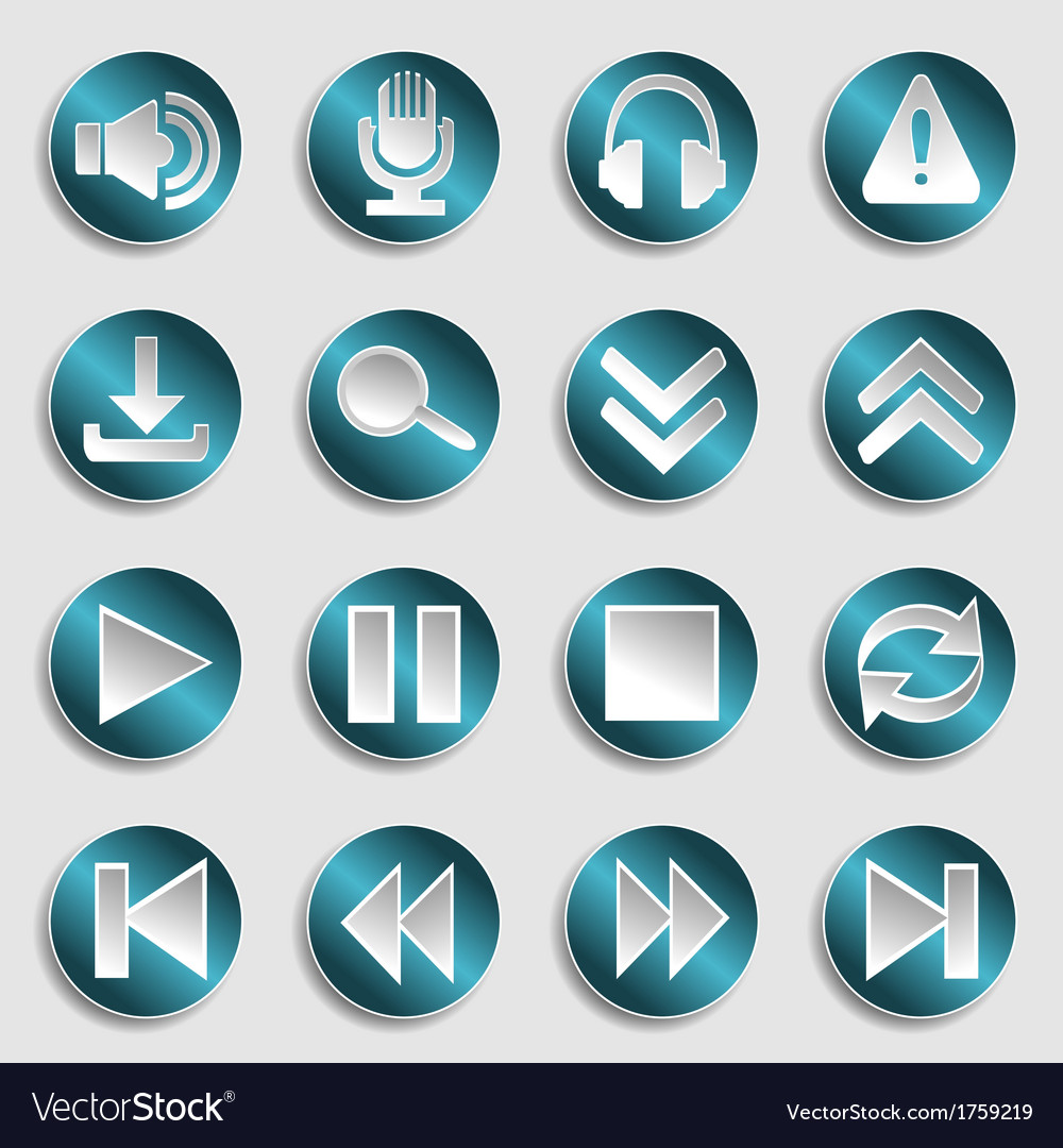 Set of multimedia icons vector | Price: 1 Credit (USD $1)
