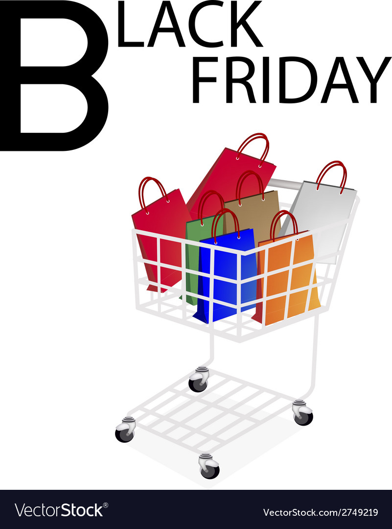 Shopping bags in black friday shopping cart vector | Price: 1 Credit (USD $1)