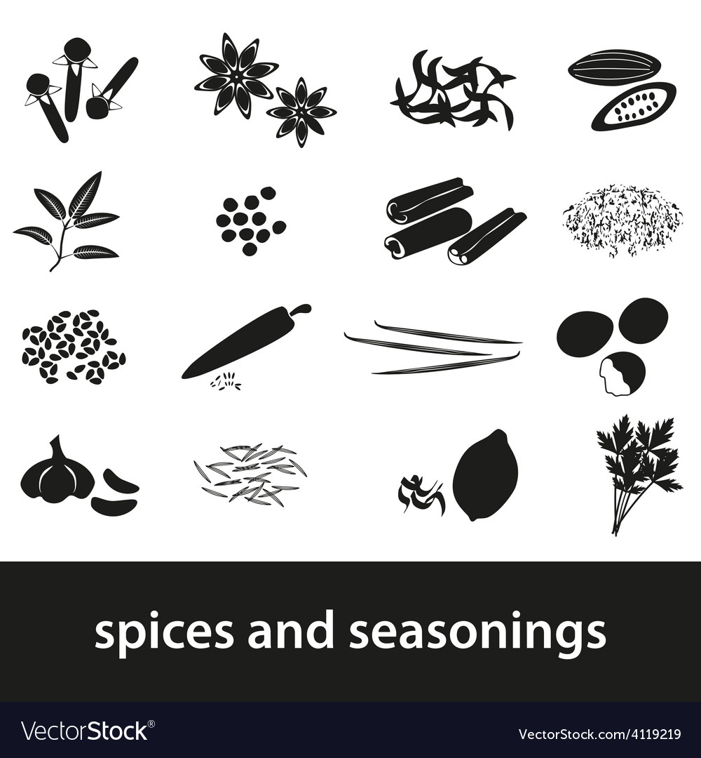 Spices and seasonings black icons set eps10 vector | Price: 1 Credit (USD $1)