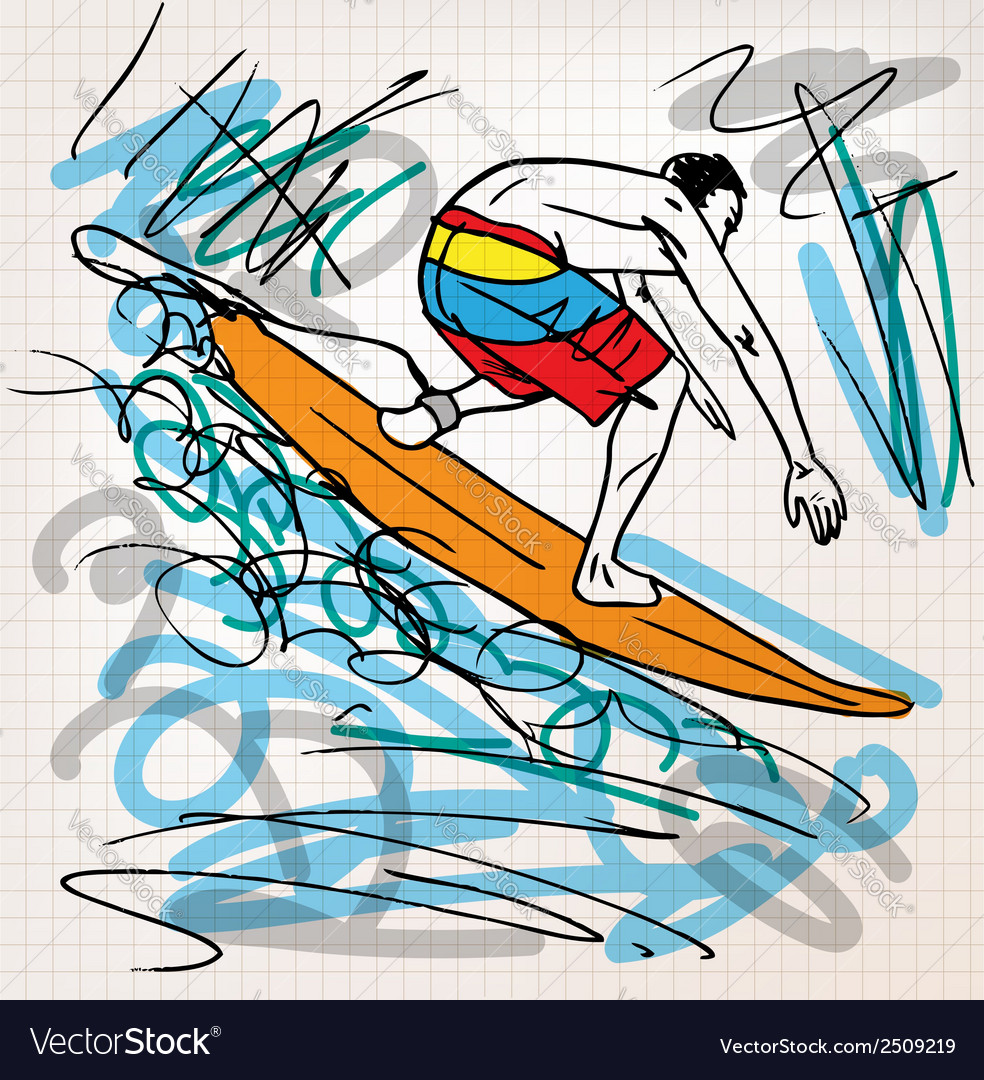 Surfing sketch vector | Price: 1 Credit (USD $1)