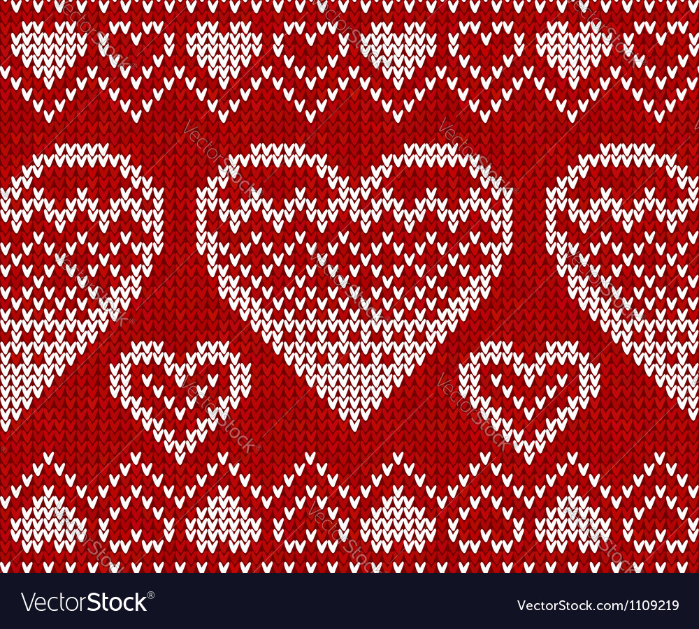 Valentines day red knitted seamless pattern vector | Price: 1 Credit (USD $1)