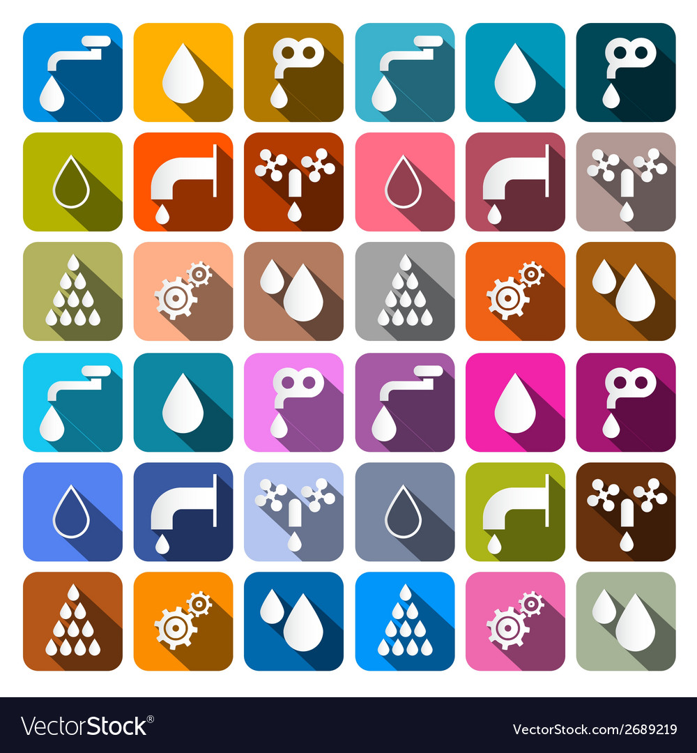 Water symbols - icons set vector | Price: 1 Credit (USD $1)