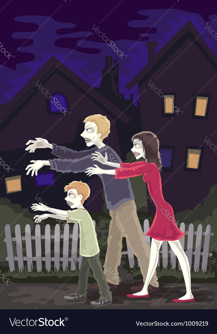 Zombie family vector | Price: 1 Credit (USD $1)