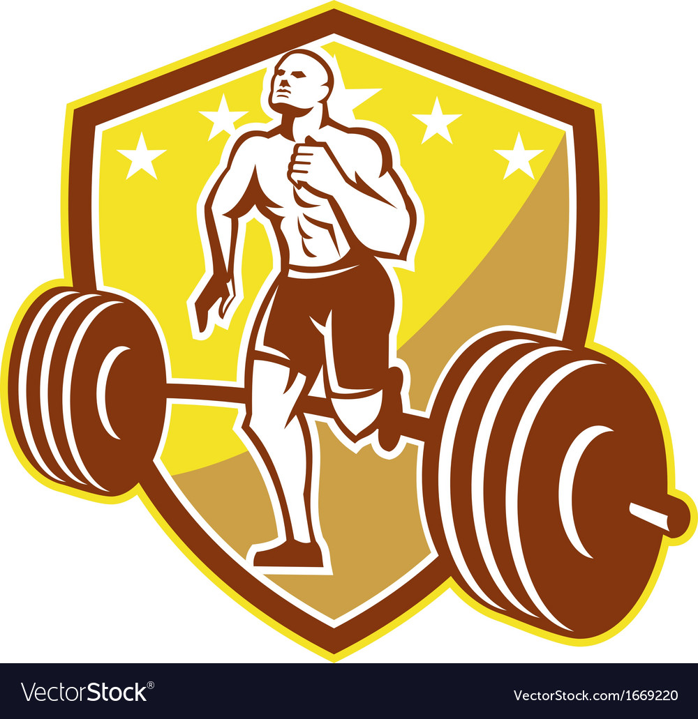 Crossfit athlete runner barbell shield retro vector | Price: 1 Credit (USD $1)