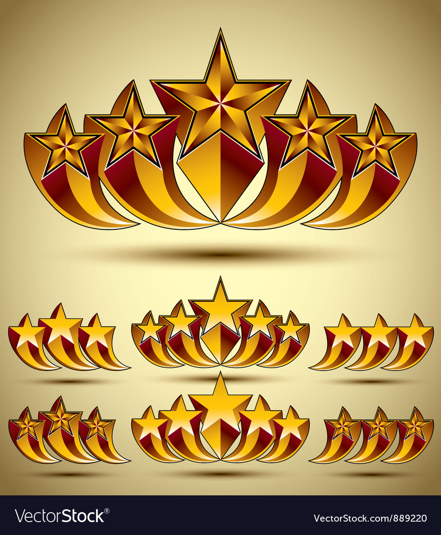 Five stars classic style icons set vector | Price: 1 Credit (USD $1)