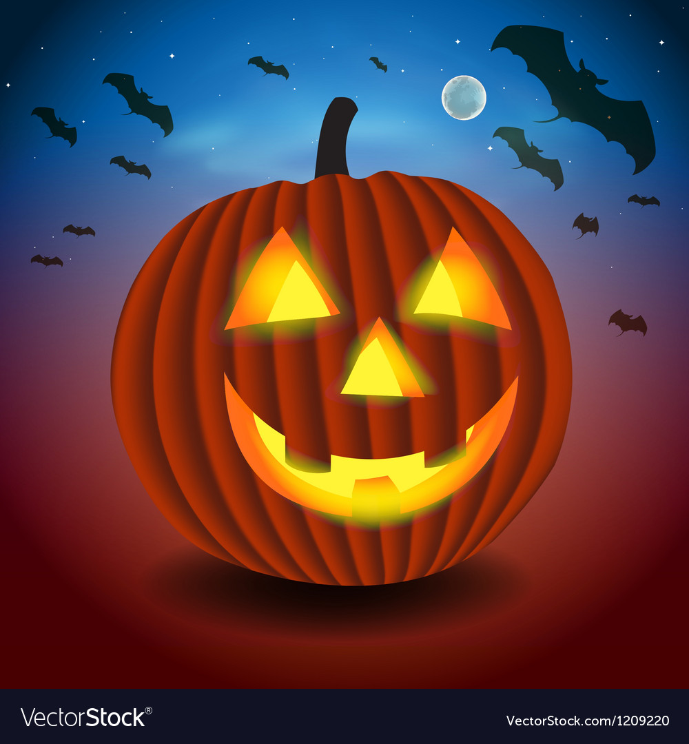 Halloween background with scary pumpking vector   Price: 1 Credit (USD $1)