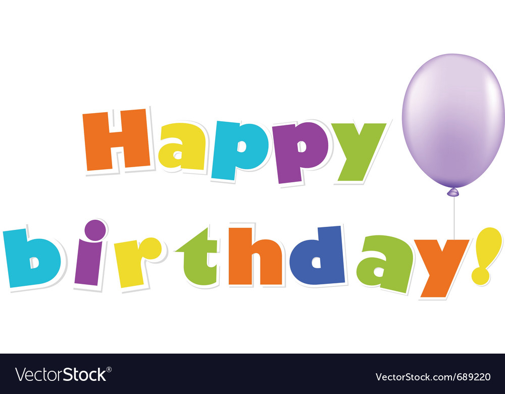 Happy birthday text vector | Price: 1 Credit (USD $1)