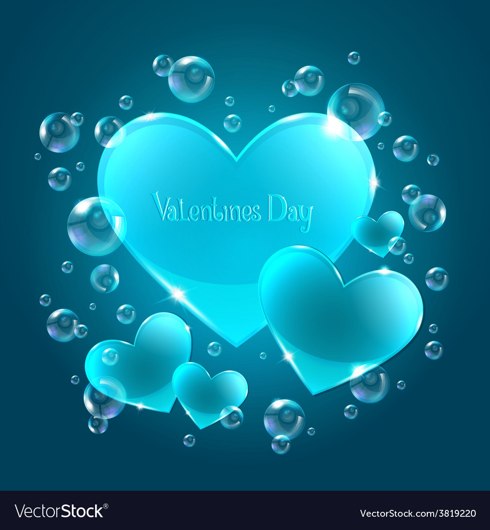 Hearts on the blue background vector | Price: 1 Credit (USD $1)