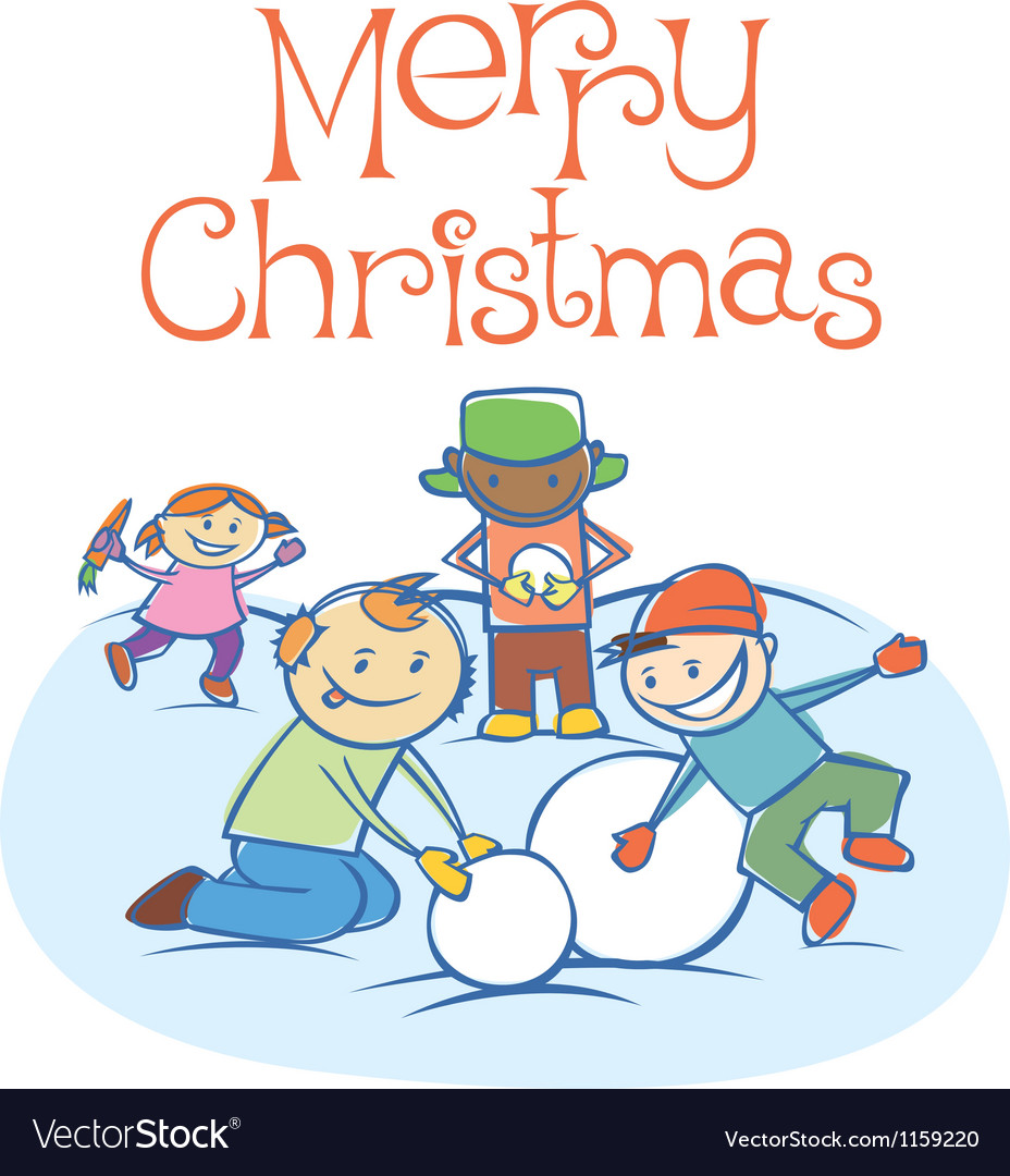 Kids making a snow man on xmas 02 vector | Price: 1 Credit (USD $1)
