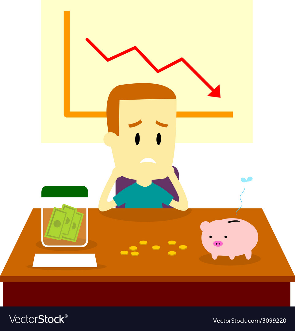 Man got financial problem vector | Price: 1 Credit (USD $1)