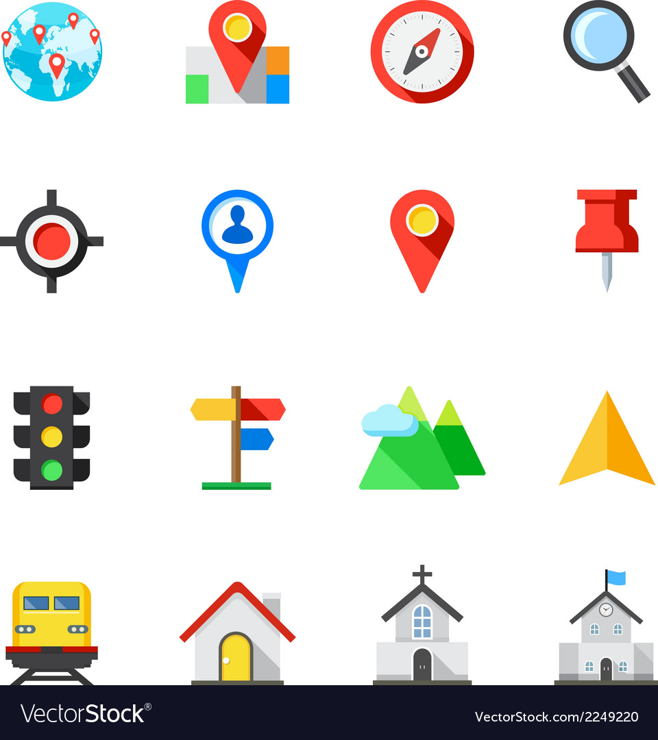 Map and location icons vector | Price: 1 Credit (USD $1)