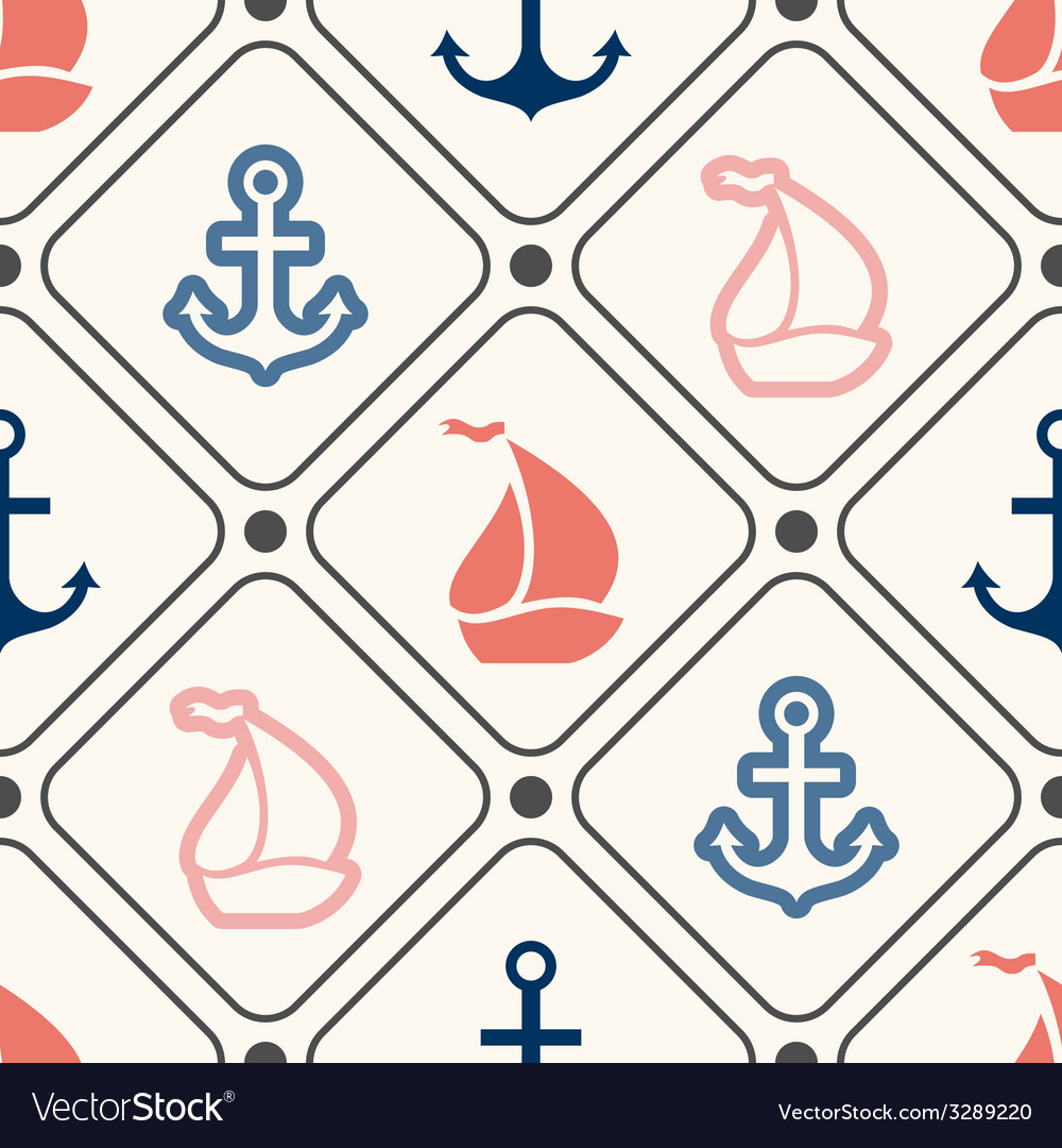 Seamless pattern of anchor sailboat shape in frame vector | Price: 1 Credit (USD $1)