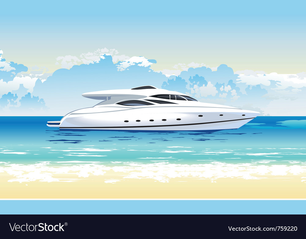 Speed boat on seashore daylight vector | Price: 3 Credit (USD $3)