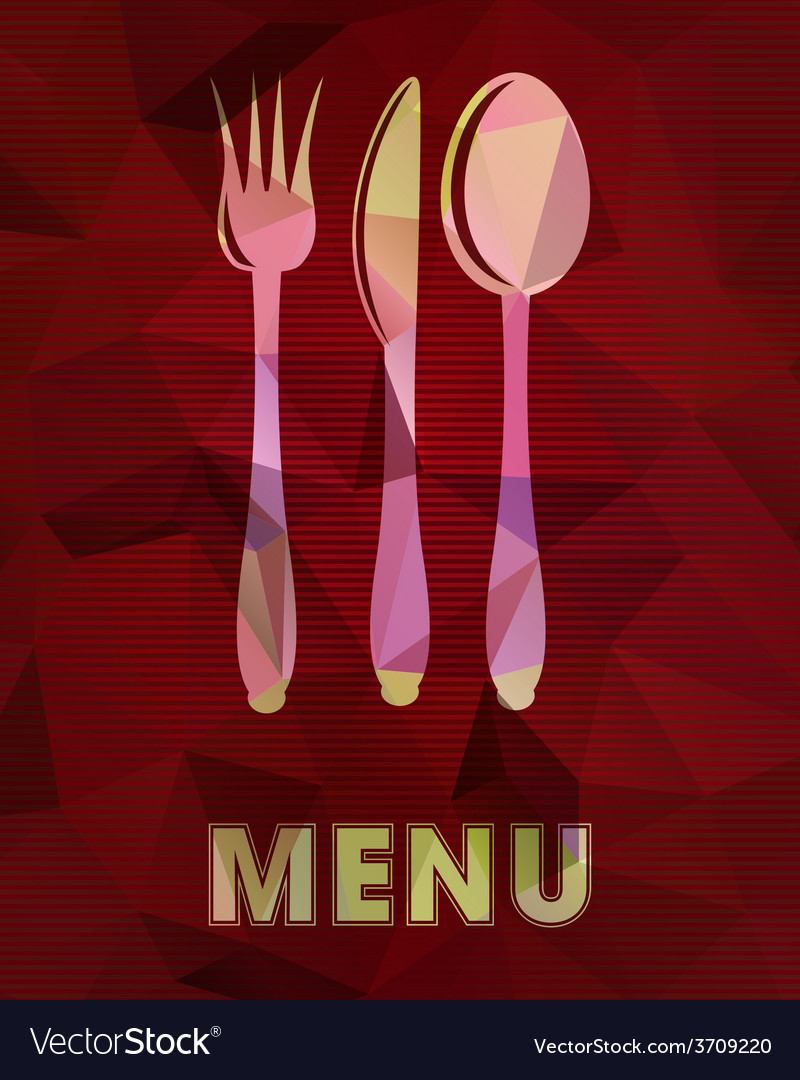 Spoon fork and knife on abstract triangular vector | Price: 1 Credit (USD $1)