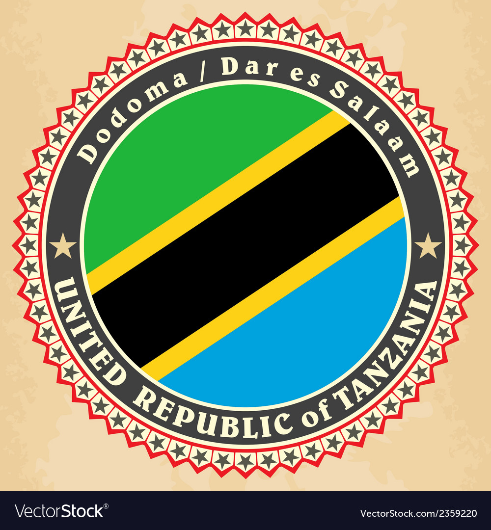 Vintage label cards of tanzania flag vector | Price: 1 Credit (USD $1)