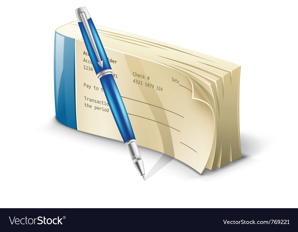Checkbook with pen vector | Price: 3 Credit (USD $3)