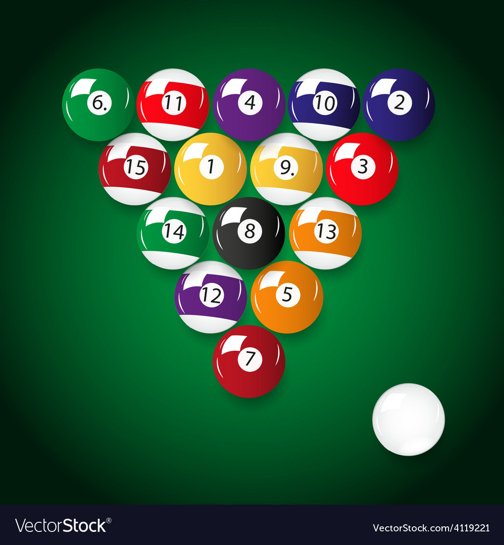 Complete set of color billiards balls eps10 vector | Price: 1 Credit (USD $1)