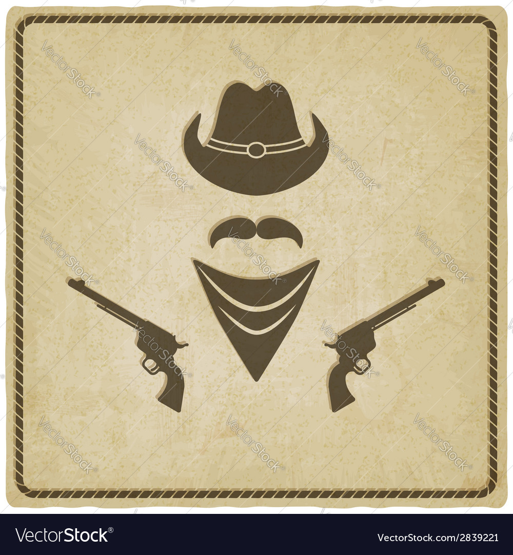 Cowboy hat and gun old background vector | Price: 1 Credit (USD $1)