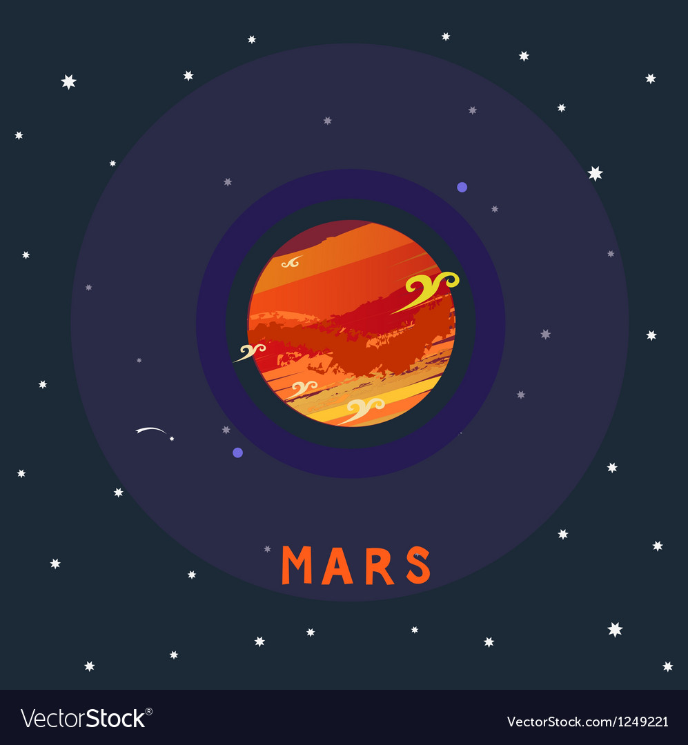 Mars space view vector | Price: 1 Credit (USD $1)