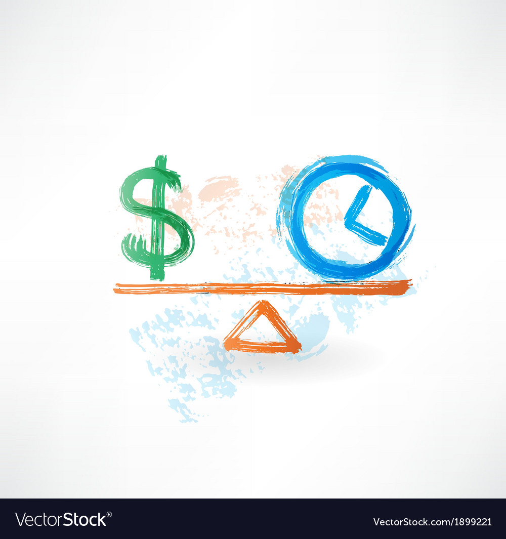 Money time balance grunge icon vector | Price: 1 Credit (USD $1)
