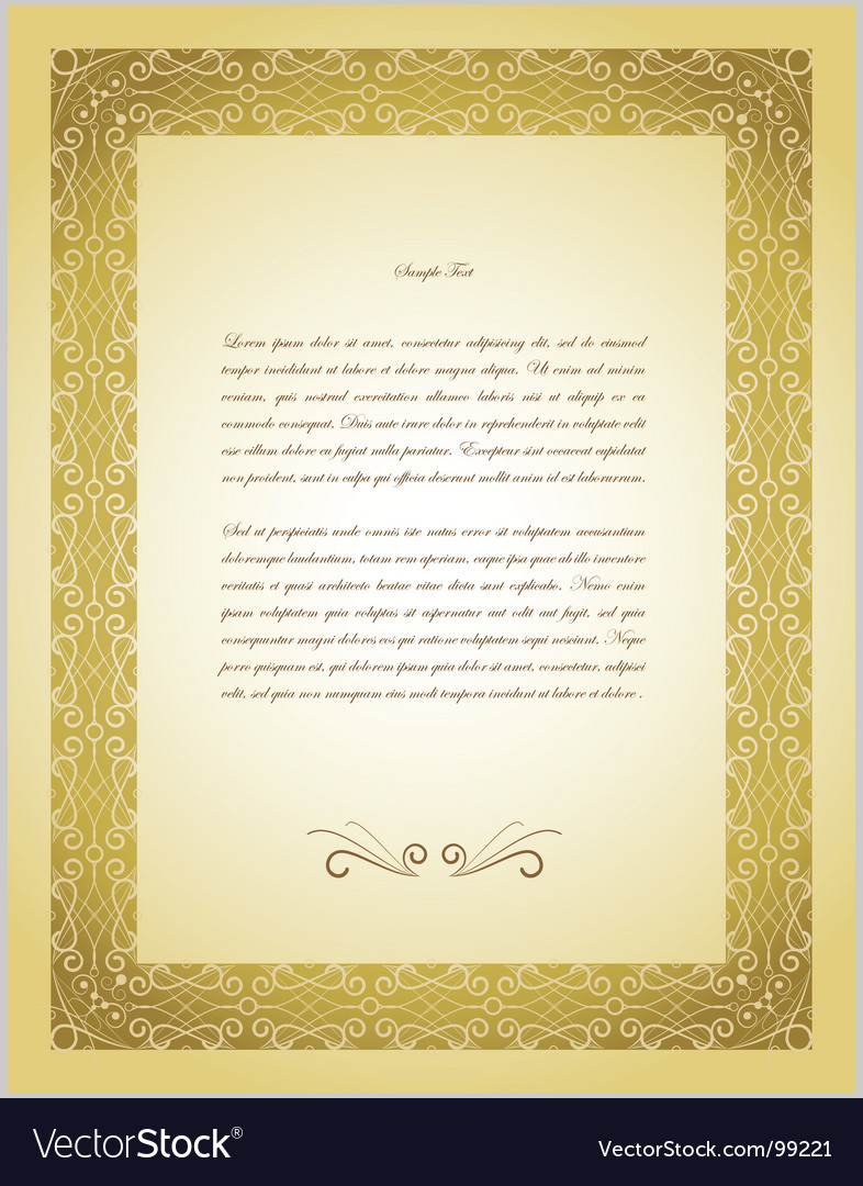 Old gold border paper background vector | Price: 1 Credit (USD $1)