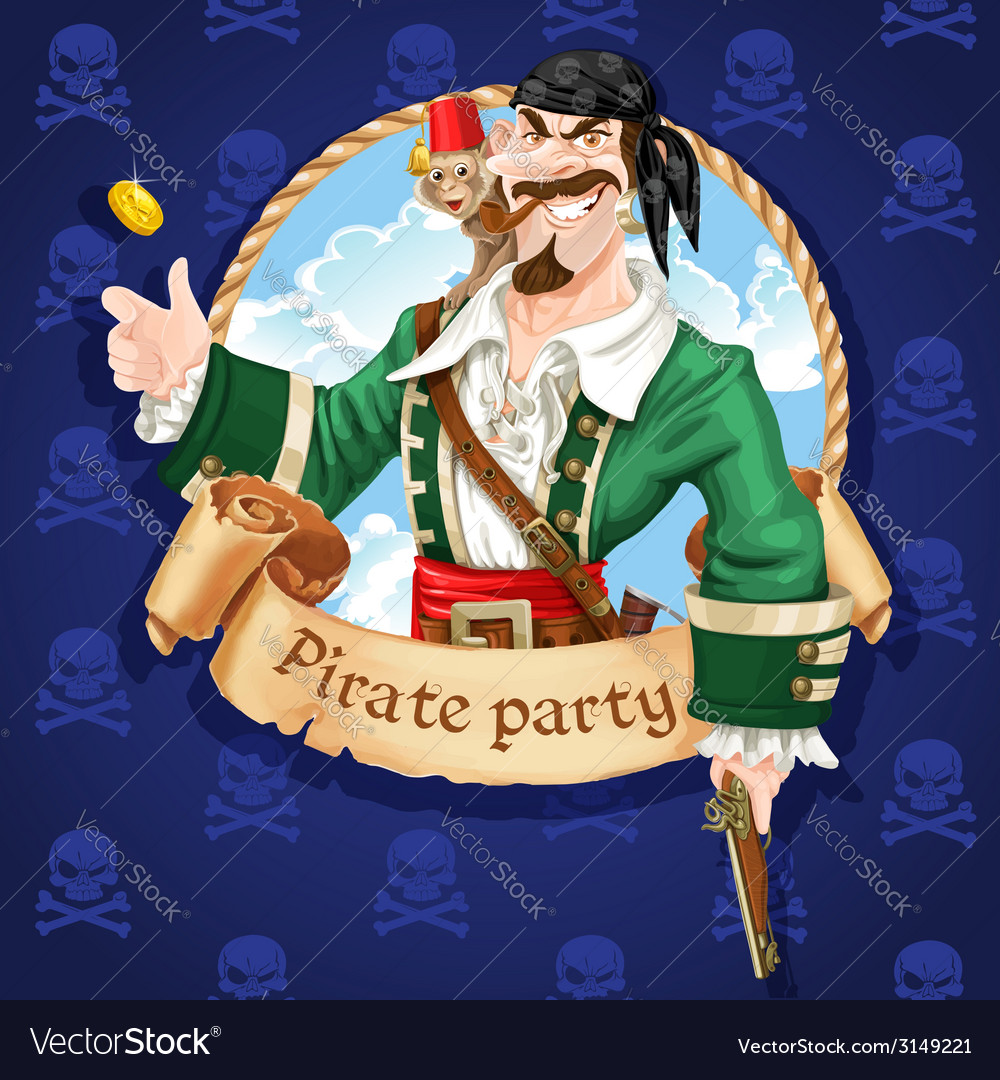 Pirate with monkey throw up golden coin vector | Price: 3 Credit (USD $3)