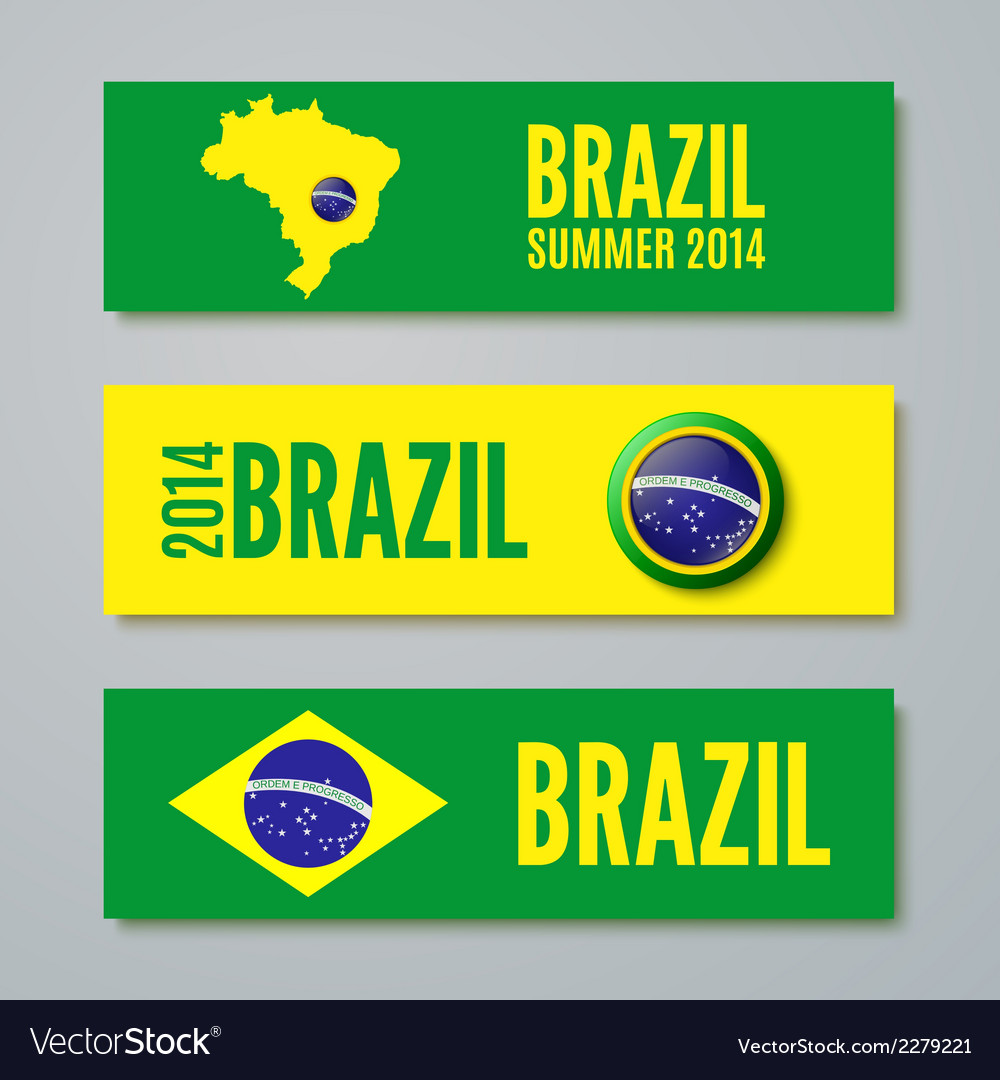 Set of brazil concept color banners vector | Price: 1 Credit (USD $1)