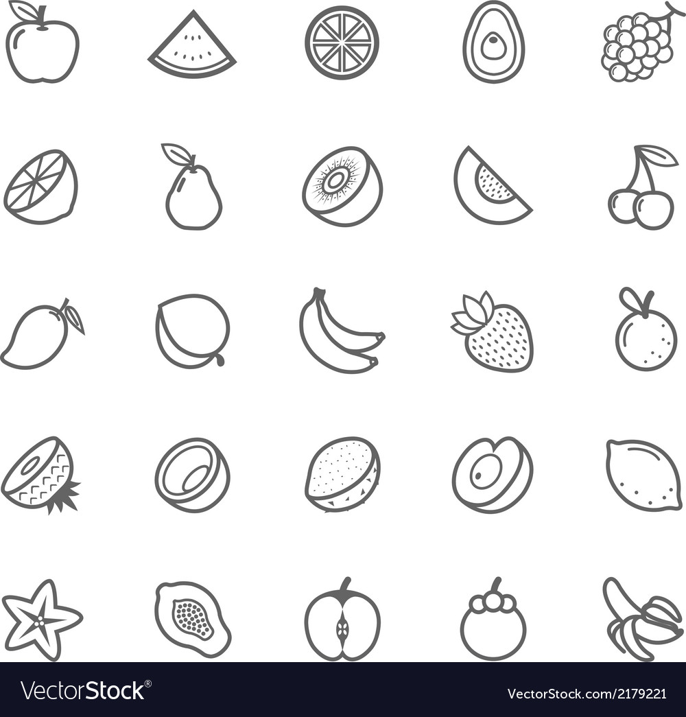 Set of outline stroke fruit icon vector | Price: 1 Credit (USD $1)