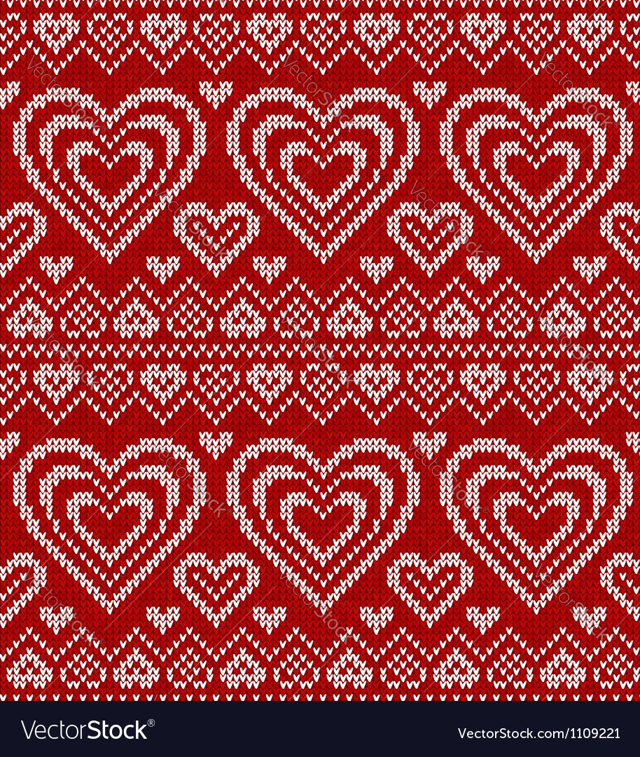 Valentines day red knitted seamless pattern vector   Price: 1 Credit (USD $1)