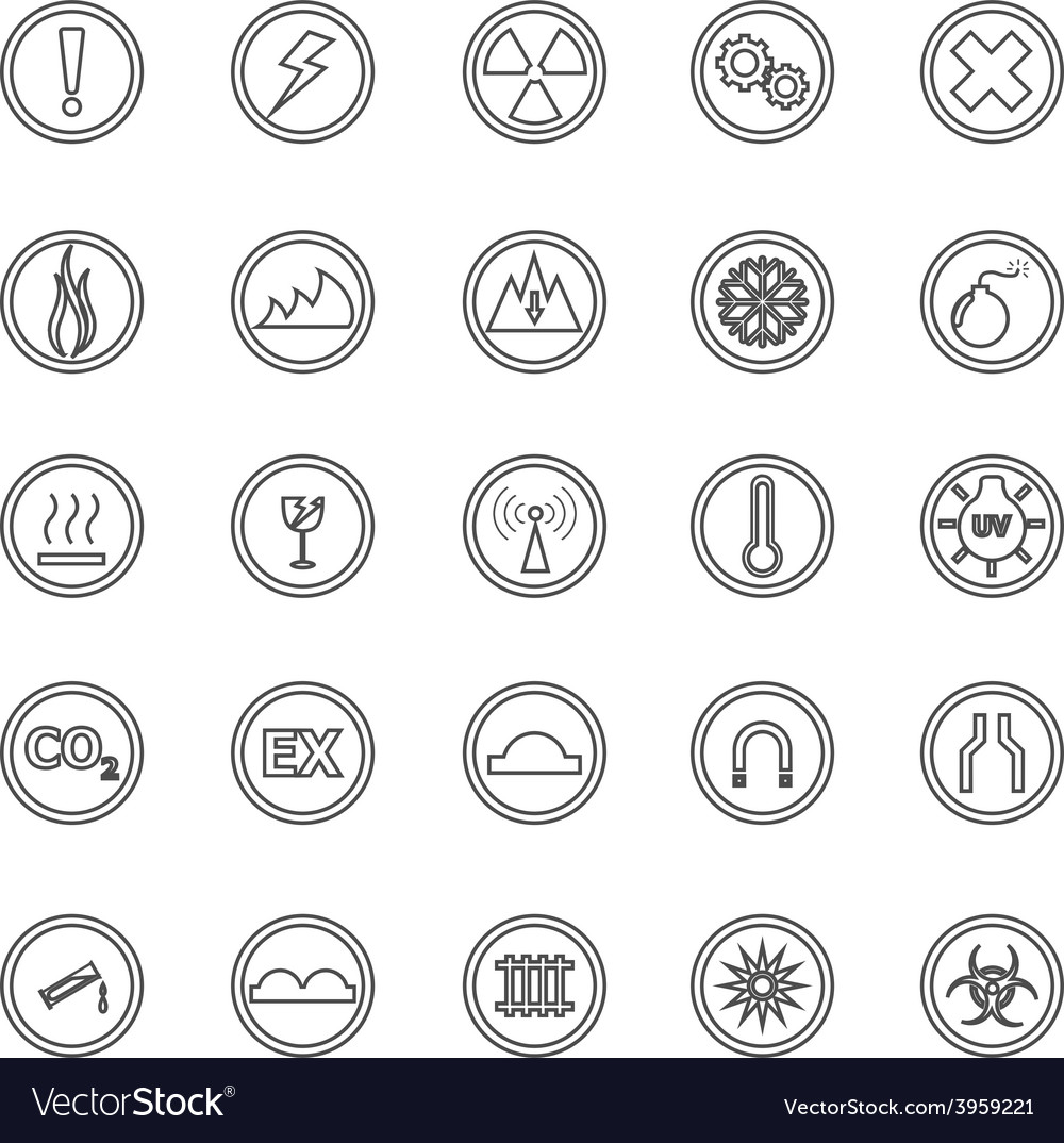 Warning sign line icons on white background vector | Price: 1 Credit (USD $1)