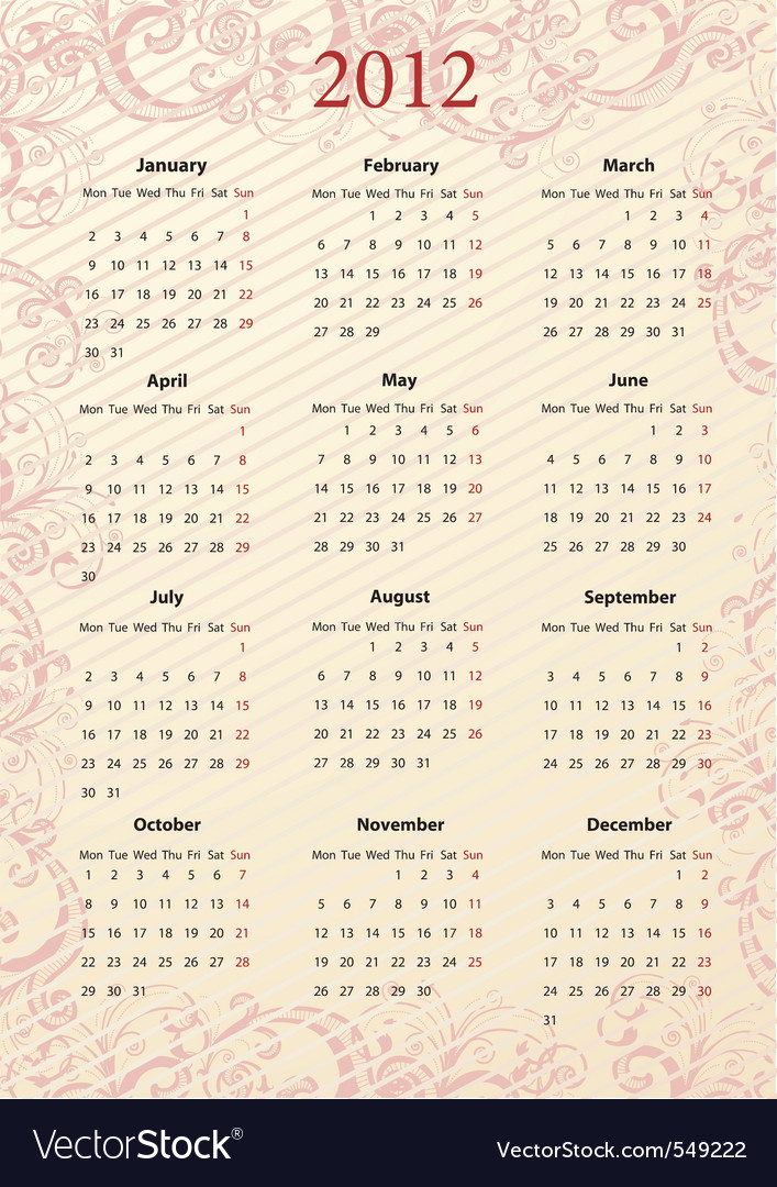 An vector pink floral calendar 2012 starting vector | Price: 1 Credit (USD $1)
