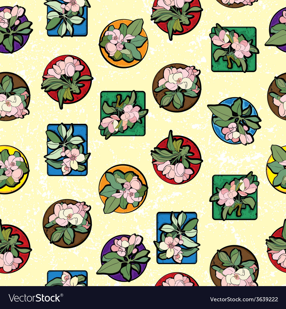 Apple flowers clip art pattern vector | Price: 1 Credit (USD $1)